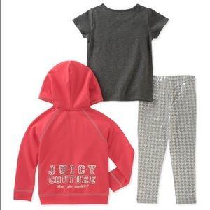 Juicy Couture Matching Sets - Juicy Couture Pink Juicy Stacked Zip-Up Hoodie Set